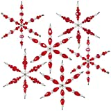 Solid Oak Snowflakes Ornament Kit, Ruby red