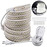 VAWAR 1m LED Band mit Schalter – Kalt Weiß 6000K, 5630 SMD 180 Leds/m Streifen, 230V helle Beleuchtung, IP65 wasserdicht (1m)