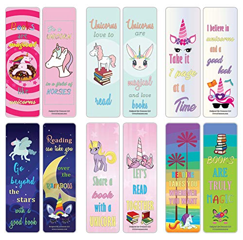 Creanoso Unicorn Bookmarks for Girls (12-Pack) – Cool and Colorful Bookmarker Cards – Awesome Bookmarks for Female Teens, Ladies, Girls Kid – Six Bulk Assorted Book Page Clip Designs