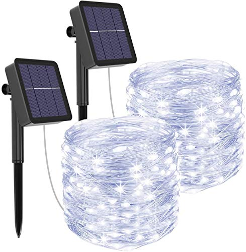 Solar Fairy Lights Outdoor, [2 Pack] Solar String Lights Garden 10M/33Ft 100LED 8 Modes Waterproof Solar Powered Copper Wire Lighting for Fence, Tree, Patio, Christmas, Garden Decoration -Cool White