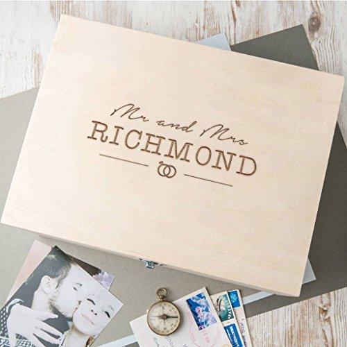 Holzkiste für Hochzeitserinnerungen personalisiert - Fotokiste aus Holz - Mr Mrs Geschenk - personalisierte Hochzeitsgeschenke - erstes gemeinsames Weihnachten