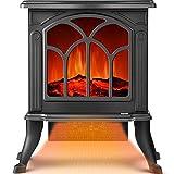 VIY Chimenea Eléctrica Classic Flame, Calefactor Cerámico, Termoventilador Llama Decorativa, Portátil, con Termostato, 2 Niveles Y Sensor Seguridad Sobrecalentamiento, 15.5 * 10.6 * 17.3Inch
