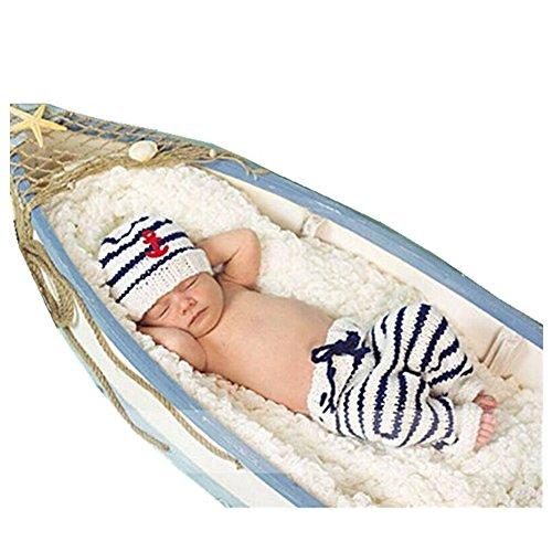 neonato fotografia puntelli Boy Girl crochet costume Outfits navy cappello pantaloni