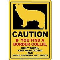 CAUTION IF YOU FIND マグネットサイン:ボーダーコリー(レギュラー)イエロー 注意 DON'T TOUCH 触れない/触らない KEEP GATE CLOSED ドアを閉める 英語 防犯 アメリカンマグネットステッカー
