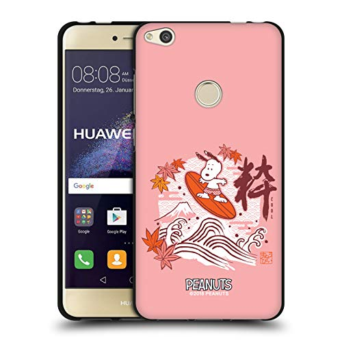 Head Case Designs Licenciado Oficialmente Peanuts Surfear Snoopy Oriental Funda de Gel Negro Compatible con Huawei P8 Lite (2017)