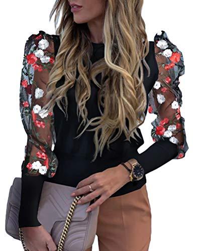 Onsoyours Damen Spitzen Shirt Sexy Transparent Netz Top Rundhals Mode Oansatz Langarm Blumenstickerei Sheer Mesh Insert Oberseite Frauen Bluse A Schwarz 34