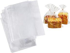 Outgeek 100PCS Bakery Bag Clear Creative Multipurpose Bread Bag Loaf Bag for Baking Shop