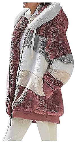 joyvio Abrigo frontal abierto de vellón difuso sólido para mujer Cárdigans cálidos de piel sintética Chaqueta con cuello vuelto Prendas de vestir con bolsillo (Color : Red, Size : L)