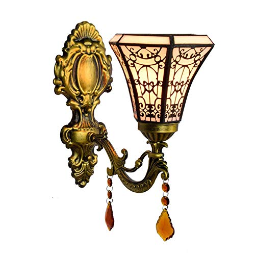 FCSFSF Tiffany Style Wall Sconce Stained Glass Wall Lamp with 6 inch Shade Vintage Antique Crystal Pendant Decorative Wall Lighting Fixture for Hallway Beside Living Room Bedroom,4