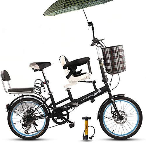 KaiKai Eltern-Kind-Bikes, 20-Zoll-Doppel Mutter und Kind-Spaziergänger mit Kinderfahrrad mit Variabler Geschwindigkeit Scheibenbremsen, Zaun Sicherheitsgurt Folding Frauen-Fahrrad, 4 (Color : 3)