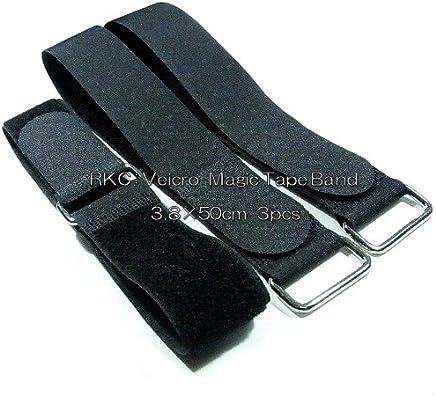 RKC 3.8cm × 50cm 固定ベルト 金属バックル付 3本 黒 160B-5