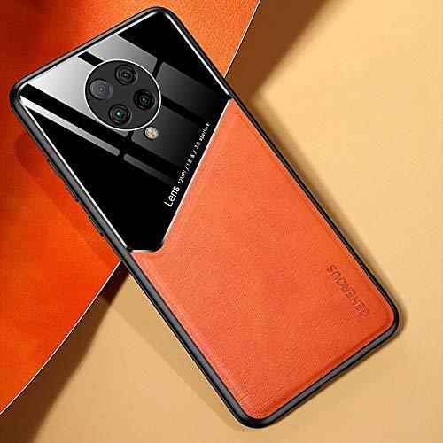 MDYHMC YXCY AYYD for Mi Redmi K30 Pro All-Inclusive Cuero + Funda de teléfono de Vidrio orgánico con Chapa de Hierro metálico (Color : Orange)