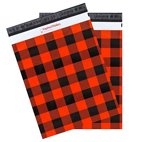 Inspired Mailers - Poly Mailers 14.5x19 - Red Buffalo Plaid - Shipping Bags - Package Envelopes - Mailing Bags (14.5x19, 50 Pack)