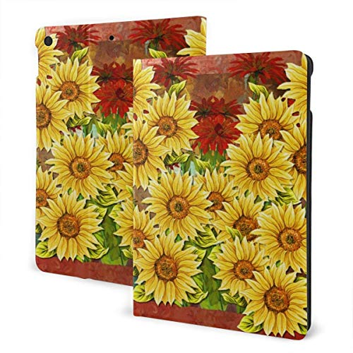 Case for iPad Sunflowers and Red Flower PU Leather Business Folio Shell Cover with Stand Pocket and Auto Wake/Sleep for iPad Air 10.5'