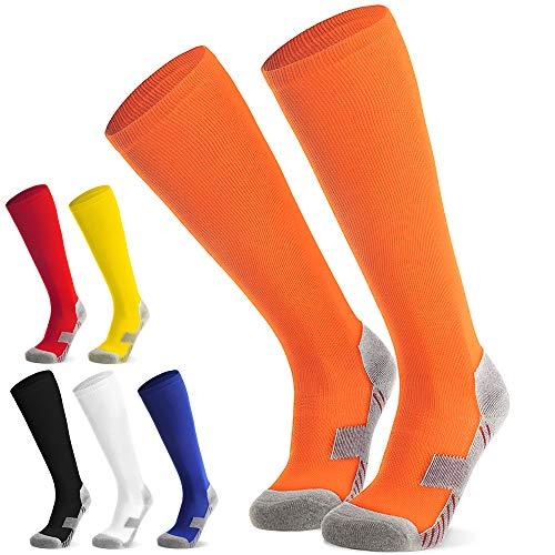 Fußballsocken Stutzen Kinder Jugendliche Socken Fußball Strümpfe - Sportsocken Trainingssocke Sockenstutzen - für Fußball, Laufen, Training (Orange S)
