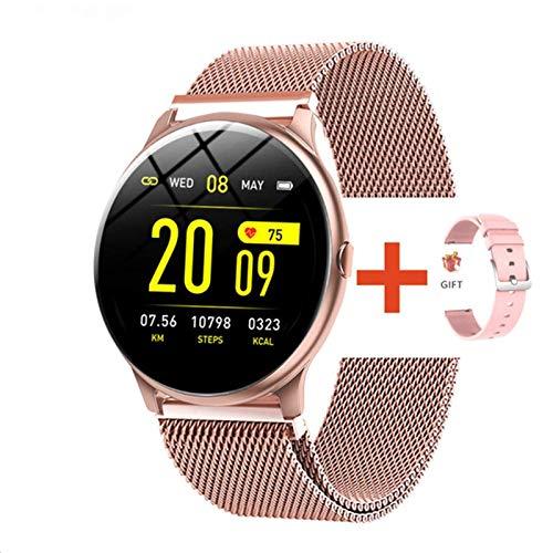 Reloj electrónico inteligente para mujeres y hombres, de lujo, con presión arterial, digital, caloría, deportivo, modo DND para Android iOS (color: malla cinturón rosa)