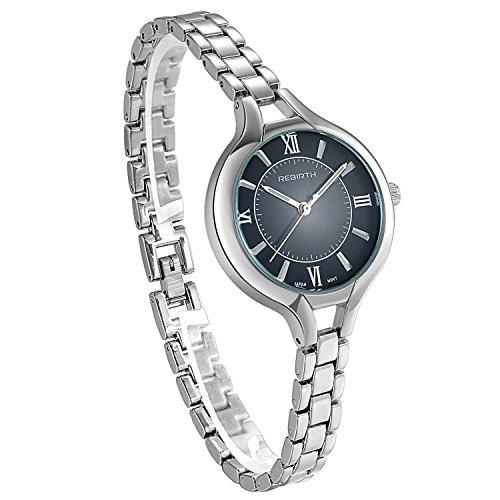 JewelryWe Damen Uhr Schlank Silber Metall Band Uhren Einfach Design Klassisch Mode Ultra Dünn Business Beiläufig Armbanduhr mit Schwarz Römischen Ziffern Zifferblatt