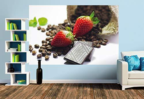 Premium Foto-Tapete Rote Erdbeeren mit Schokolade und Kaffee (versch. Größen) (Size M   279 x 186 cm) Design-Tapete, Wand-Tapete, Wand-Dekoration, Photo-Tapete, Markenqualität von ERFURT