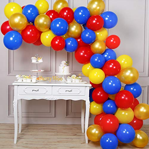 PartyWoo Red Blue Gold Balloons, 85 pcs 12 inch Red Balloons, Yellow Balloons, Royal Blue Balloons, Gold Balloons, Red Yellow Balloons, and Yellow Red Blue Balloons for Superhero Party, Red Blue Party
