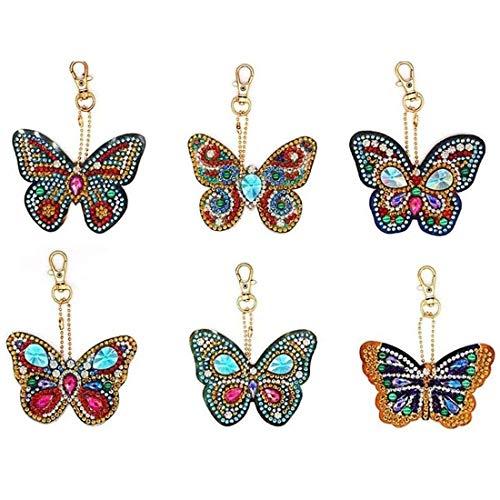 WENTS Diamant Schlüsselanhänger 5D Diamond Painting Stickerei Kinder DIY Schmetterling Frauen mädchen Tasche geldbörse Handtasche Charms anhänger 6PCS