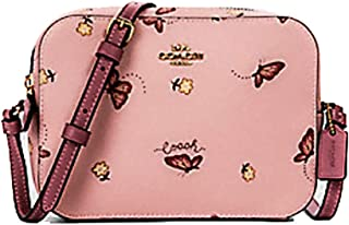 Women's Mini Camera Bag in Coated Canvas with a Butterfly Print (Blossom/Pink Multi/Gold)