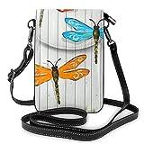 Bolso ligero del teléfono celular de cuero, bolso pequeño de la libélula de la cerca de la libélula, bolso del hombro de la cartera del bolso de la bolsa de, color Negro, talla Talla única