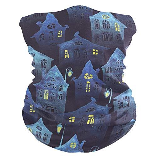 ASDAH Halloween Nacht Alte Blaue Häuser Bandana Gesicht UV Sonnenschutz Abdeckung Hals Gamasche Halbe Gesicht Abdeckung Gesicht Schal für Laufen im Freien