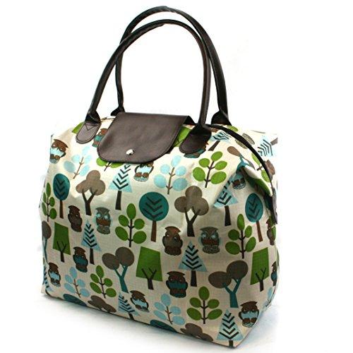 Sac de voyage/bagage à main léger et compact Imprimé bleu, vert et blanc Motif chouette