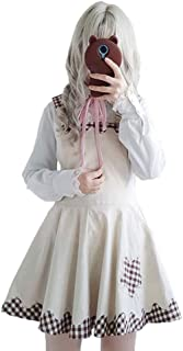 Overall Dresses Kawaii High Waist Cotton A-Line Short Dresses for Teens