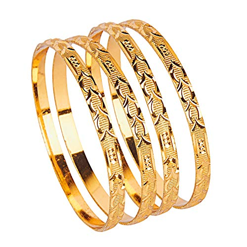 Bodha Traditional Indian 24k Fine Gold Plated Traditional Designer Bangles for Women (Pack of 4) (SJ_3274_2.8)
