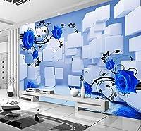 Wkxzz 壁の背景装飾画 カスタム3D立体花壁画の幾何学的な正方形の空間拡大写真の壁紙-280X200Cm