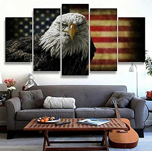 QQWER Modular HD Lienzo Imagen 5 Piezas Cuadro sobre Arte Pared 5 Partes Modernos Muralbandera De Estados Unidos De American Eagles Impresión Salón Decoración Frame Poster