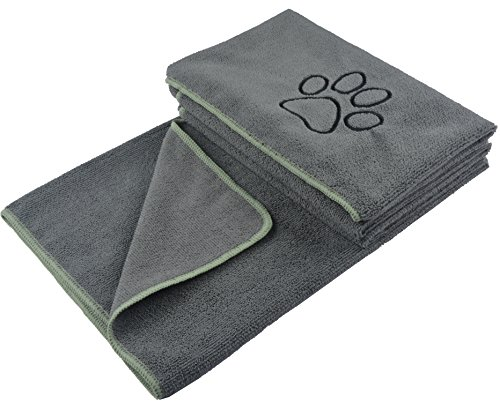 KinHwa Dog Towel Super Absorbent Pet Bath Towel Microfiber Dog Drying Towel for Small, Medium, Large Dogs and Cats 30inch x 50inch Gray