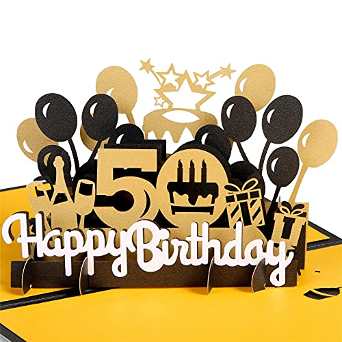 HOMANGA Happy 50th Birthday Pop Up Card, 50th Birthday 3D Greeting Card for Men or Women, 50th Birthday Gifts for Husband Wife, Pop Up Birthday Card with Blank Note and Envelope, 6' x 8'