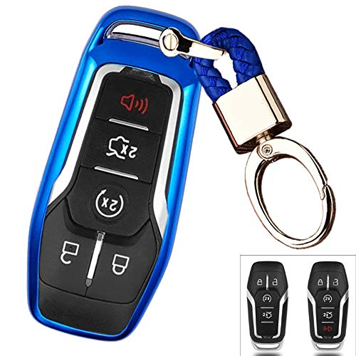 Royalfox(TM) 4 5 Buttons TPU Smart keyless Entry Remote Key Fob case Cover Keychain for Ford Mustang F-150 F-450 Explorer Taurus Fusion Edge,Lincoln MKZ MKC MKX (Blue)