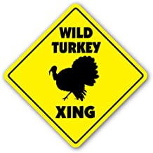 [SignJoker] WILD TURKEY CROSSING Sign xing gift novelty farm fowl hunter hunting calls Wall Plaque Decoration