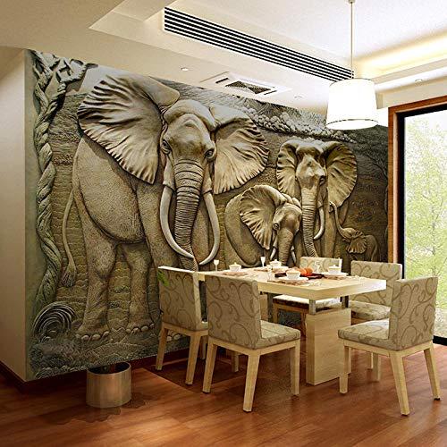 Murales de pared 3D personalizados Papel tapiz 3D Estéreo en relieve Fondo de elefante Mural de pared Sala de estar Sofá TV Telón de fondo Photo Wallpaper @ 300 * 210cm