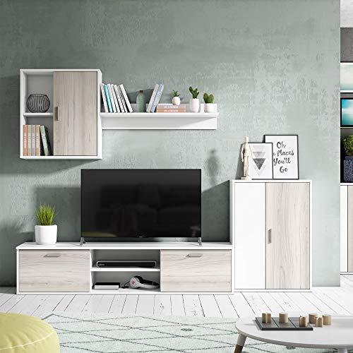 VS Venta-stock Mueble salon Comedor modulo bajo modulo Colgante y Armario Color Blanco y Sable 180x220 cm