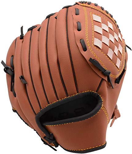 WEIYON Baseball Glove with Baseball Catcher's Mitt PU Leather Left Hand Gloves 10.5/11.5/12.5 for Kids Youth Adult [Right Hand Throw] (Brown, 12.5)
