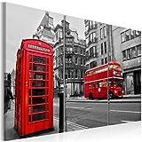 murando Cuadro Acústico London Londres 135x90 cm XXL Impresión Artística 3 Piezas Lienzo de Tejido no Tejido Estampado Decoración de Pared Aislamiento Absorción de Sonidos 030217-1