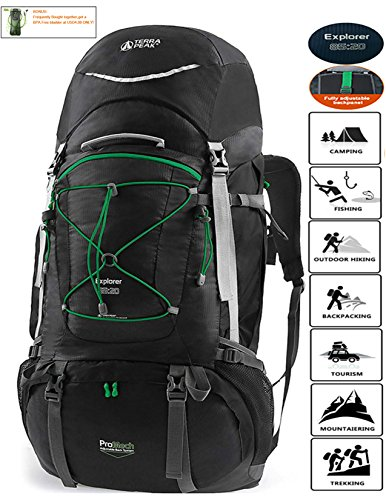 TERRA PEAK Adjustable Hiking Backpack 85L+20L for Men Women Black