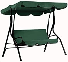 Depruies Patio Swing Canopy Cover Set - Swing Replacement Top Cover + Swing Cushion Cover for 3 Seat Swing Dustproof Protection