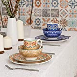 Vancasso Tafelservice Porzellan, Mandala 32 teiliges Essgeschirr Kombiservice, handbemaltes Geschirrset für 8 Personen, böhmischer Stil - 5