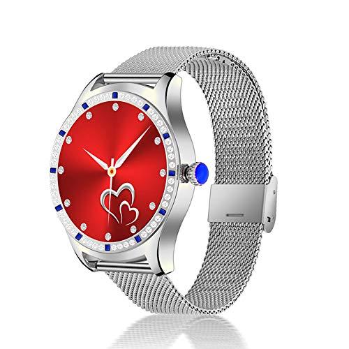Women Smart Watch, Bluetooth Pulsera Llamada Ritmo cardíaco presión Arterial sueño Funciones Femeninas conexión TWS Auriculares música,Plata