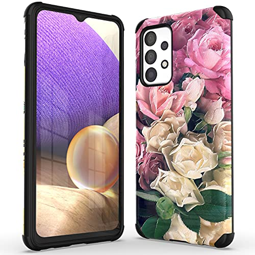 WZOKA for Samsung Galaxy A32 Case, Embossed Floral Hybrid Dual Layers 2 in 1 Solid Case for Samsung A32 5g with Shockproof Heavy Duty Bumper (Pink)