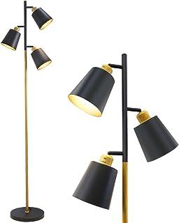 ZMH Lampadaire vintage noir salon orientable 3 ampoules en métal aspect bois pour bureau et chambre à coucher Culot E27 ma...