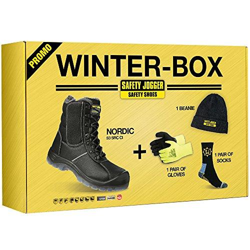 Safety Jogger Nordic veiligheidsschoenen/laarzen in de winterbox, set met warme muts, handschoenen en sokken, S3 SRC