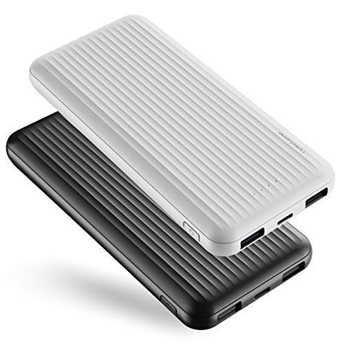 2 Pack Power Bank 10000mAh, &reem Powerbank USB C mit 2 Ausgängen 5V/2.4A,Kleine & Kompakte Externer Akku mit Micro, Handy Ladegerät Leicht Compact Externer Batterie für iPhone,Samsung,Huawei