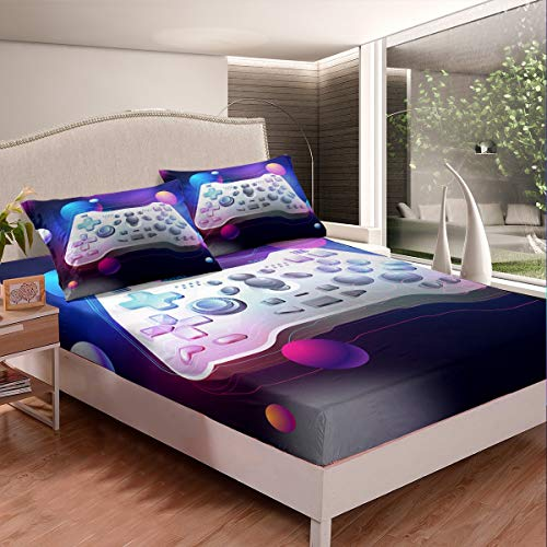 Feelyou Gamepad Bed Sheet Set Video Game Gamepad Bedding Set for Kids Boys Teens Novelty Modern Game Controller Fitted Sheet Action Buttons Bed Cover Room Decor 3Pcs Sheets Full