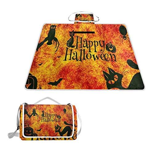 XINGAKA Manta de Picnic Impermeable,Feliz Halloween Gato Negro Calabazas Murciélagos Búhos Arañas...